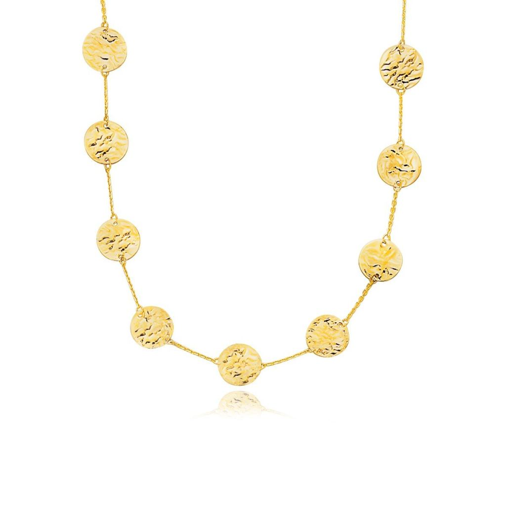14K Yellow Gold Textured Disc Long Layering Necklace Select Size / Gold Necklaces