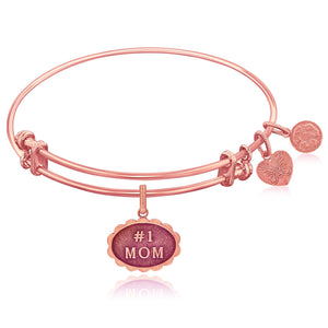 Expandable Pink Tone Brass Bangle with #1 Mom Symbol