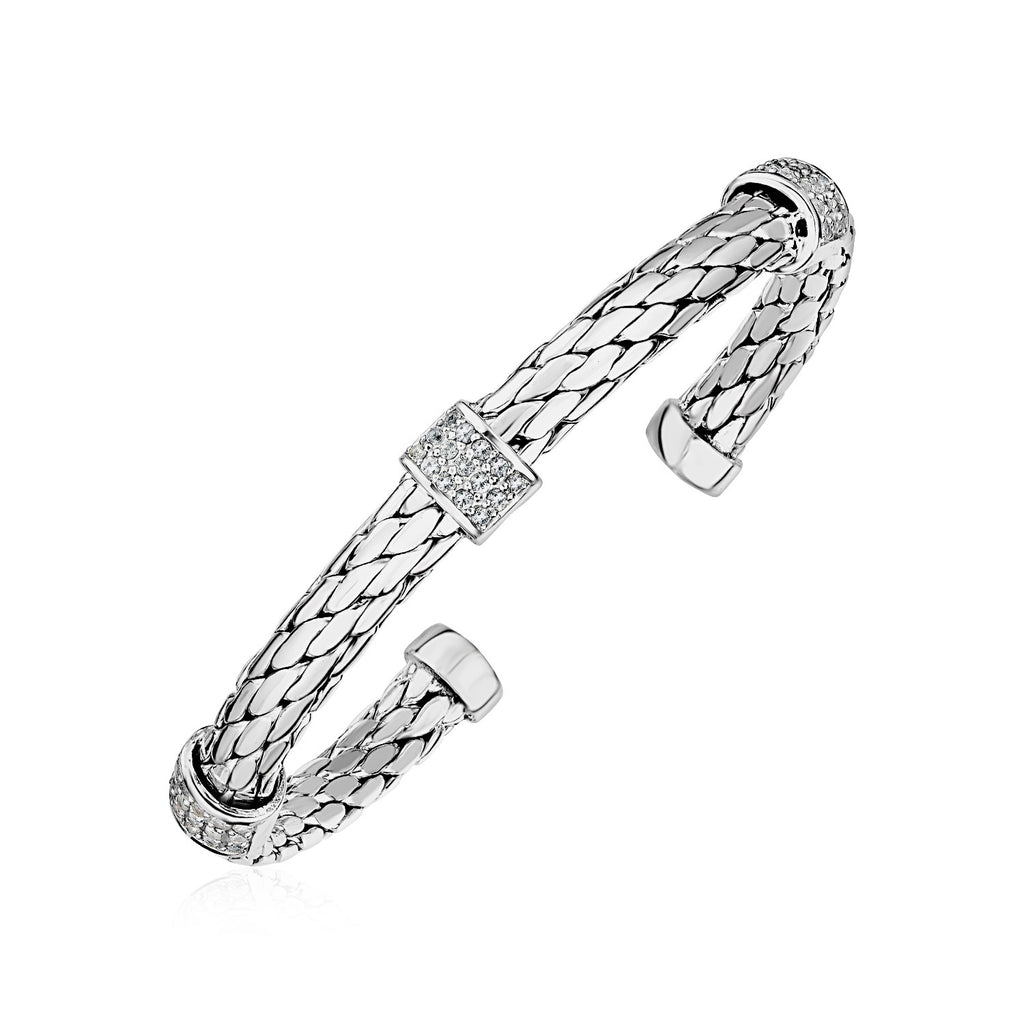 Woven Rope Cuff Bangle with White Sapphire Accents in Sterling Silver