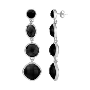 Black Onyx Long Earrings In Sterling Silver Earrings