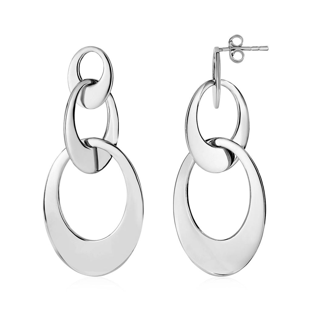 Drop Earrings With Three Open Ovals In Sterling Silver Silver
