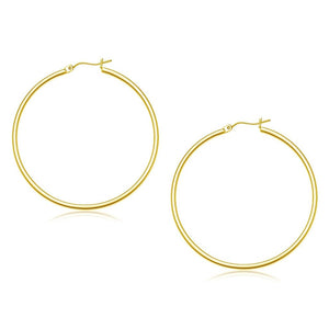 10K Yellow Gold Polished Hoop Earrings (45 Mm) Gold