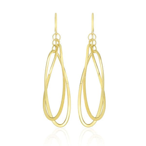 14K Yellow Gold Tube Style Entwined Open Oval Drop Earrings Gold