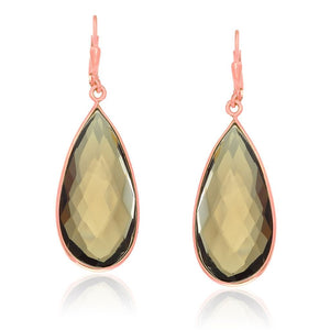 Sterling Silver Rose Gold Plated Teardrop Smokey Quartz Earrings Rose Gold Plated Silver
