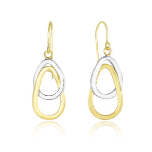 14K Two-Tone Gold Interlaced Open Teardrop Drop Earrings White And Yellow Gold