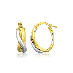 14K Two Tone Gold Oval Twisted Hoop Earrings White And Yellow Gold