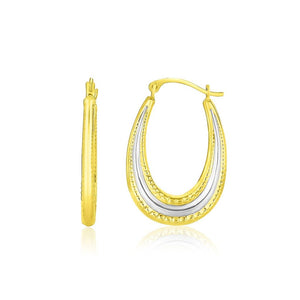 10K Two-Tone Gold Graduated Textured Oval Hoop Earrings White And Yellow Gold