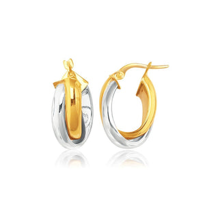 14K Two-Tone Gold Double Row Intertwined Oval Hoop Earrings White And Yellow Gold