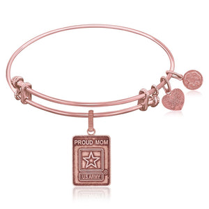 Expandable Bangle In Pink Tone Brass With U.s. Army Proud Mom Symbol Brass Bangles