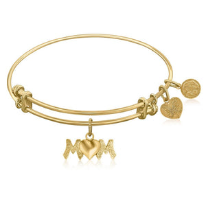 Expandable Bangle In Yellow Tone Brass With Mom Symbol Bangles