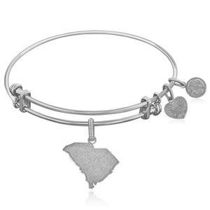 Expandable White Tone Brass Bangle With South Carolina Symbol Brass Bangles