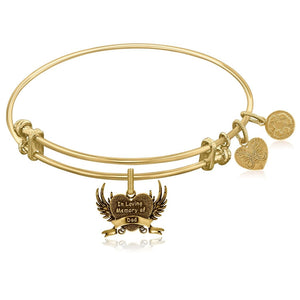 Expandable Yellow Tone Brass Bangle With In Loving Memory Of Dad Symbol Brass Bangles