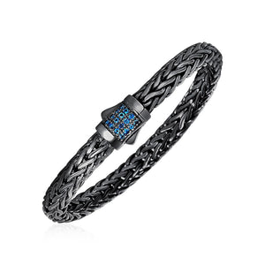 Woven Rope Bracelet With Blue Topaz And Black Finish In Sterling Silver Select Size / Silver Bracelets