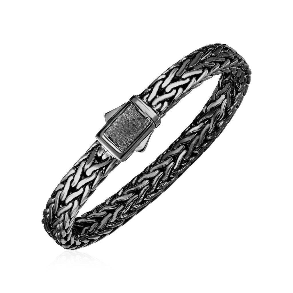 Wide Woven Rope Mens Designer Bracelet With Black Finish In Sterling Silver Select Size / Silver Bracelets