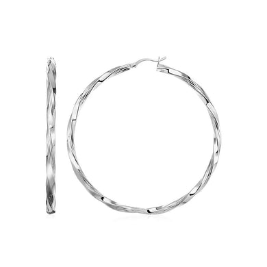 Square Profile Twisted Hoop Earrings In Sterling Silver Silver