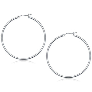10K White Gold Polished Hoop Earrings (50 Mm) Gold