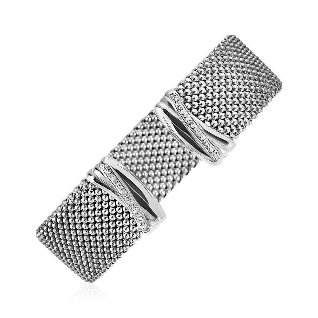 Wide Popcorn Texture Cuff Bangle With Diamonds In Sterling Silver Silver Bangles