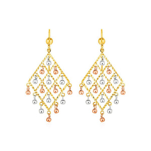 Textured Chandelier Earrings With Ball Drops In 14K Tri Color Gold Color Gold