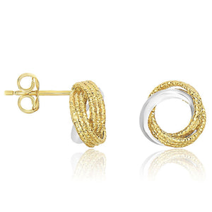 14K Two-Tone Gold Multi-Textured Open Circle Style Entwined Earrings White And Yellow Gold