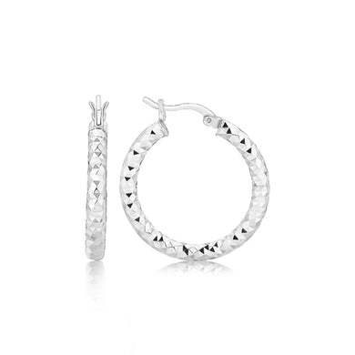 Sterling Silver Faceted Style Hoop Earrings With Rhodium Finishing Silver