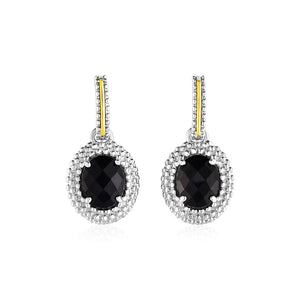 Oval Onyx Earrings In 18K Yellow Gold & Sterling Silver Gold And Sterling Silver