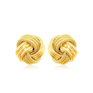 10K Yellow Gold Love Knot With Ridge Texture Earrings Gold