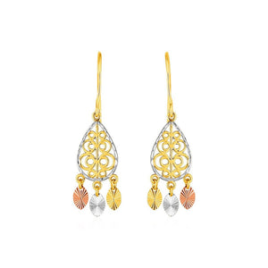 Textured Teardrop Chandelier Earrings In 14K Tri Color Gold Color Gold
