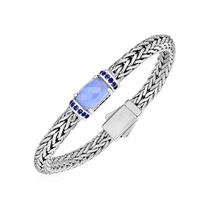 Woven Rope Bracelet With Chalcedony And Blue Sapphires In Sterling Silver Select Size / Silver Bracelets