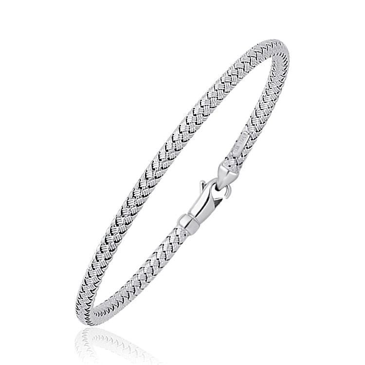 Fancy Weave Bangle In 14K White Gold (3.0Mm) Select Size / Gold Bangles