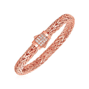 White Sapphire And Rose Gold Vermeil Embellished Mens Braided Style Bracelet In Sterling Silver Select Size / Silver Bracelets