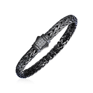 Woven Rope Bracelet With White Sapphire And Black Finish In Sterling Silver Select Size / Silver Bracelets