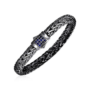 Woven Rope Bracelet With Blue Sapphire And Black Finish In Sterling Silver Select Size / Silver Bracelets