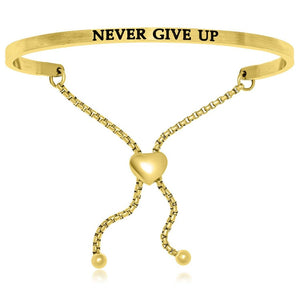 Yellow Stainless Steel Never Give Up Adjustable Bracelet Stainless Steel Bangles