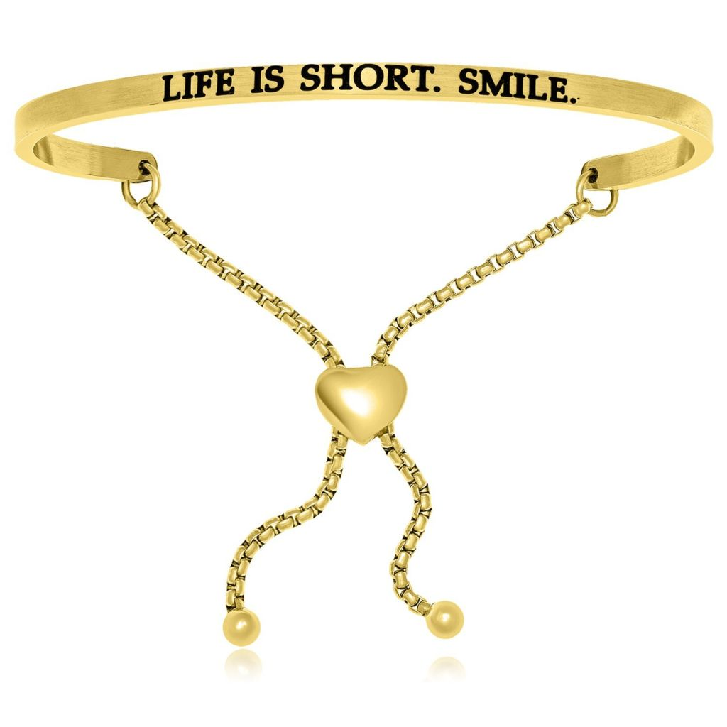 Yellow Stainless Steel Life Is Short Smile Adjustable Bracelet Stainless Steel Bangles