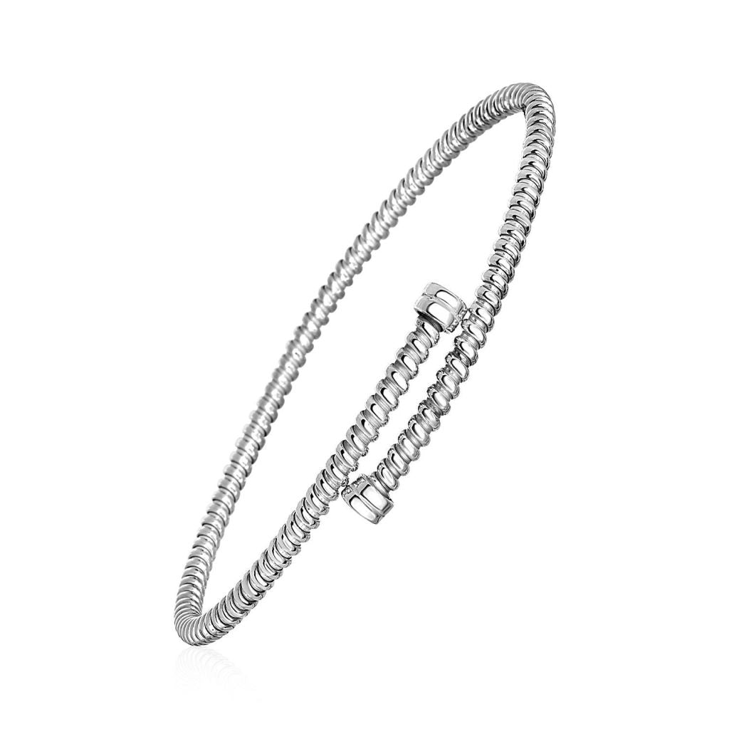 Twisted Wire Bypass Style Bangle In Sterling Silver Select Size / Silver Bangles