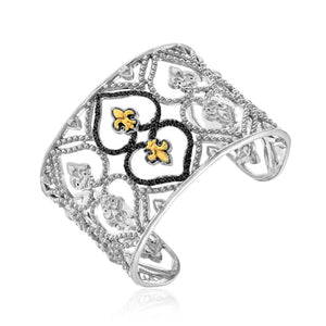 18K Yellow Gold & Sterling Silver Open Byzantine Style Cuff With Black Diamonds Gold And Sterling Silver Bangles