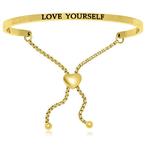 Yellow Stainless Steel Love Yourself Adjustable Bracelet Stainless Steel Bangles