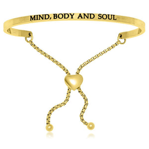 Yellow Stainless Steel Mind Body And Soul Adjustable Bracelet Stainless Steel Bangles
