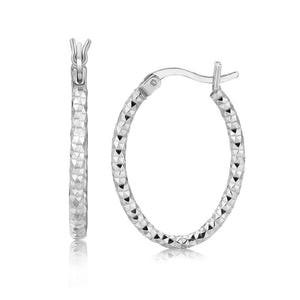 Sterling Silver Hoop Diamond Cut Texture Earrings With Rhodium Plating Silver