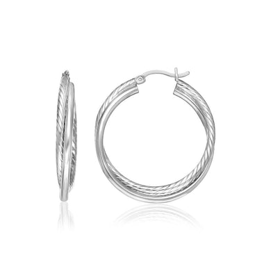 Sterling Silver Ridged Hoop Earrings With Textured Design Silver