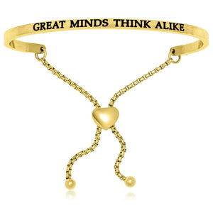 Yellow Stainless Steel Great Minds Think Alike Adjustable Bracelet Stainless Steel Bangles