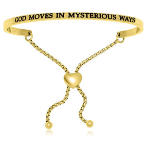 Yellow Stainless Steel God Moves In Mysterious Ways Adjustable Bracelet Stainless Steel Bangles