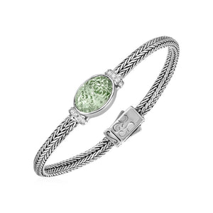 Woven Rope Bracelet With Green Amethyst And White Sapphires In Sterling Silver Select Size / Silver Bracelets