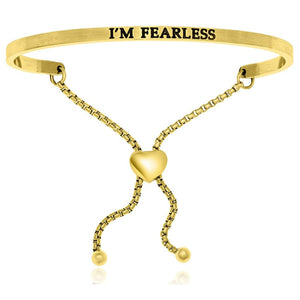 Yellow Stainless Steel Im Fearless Adjustable Bracelet Stainless Steel Bangles