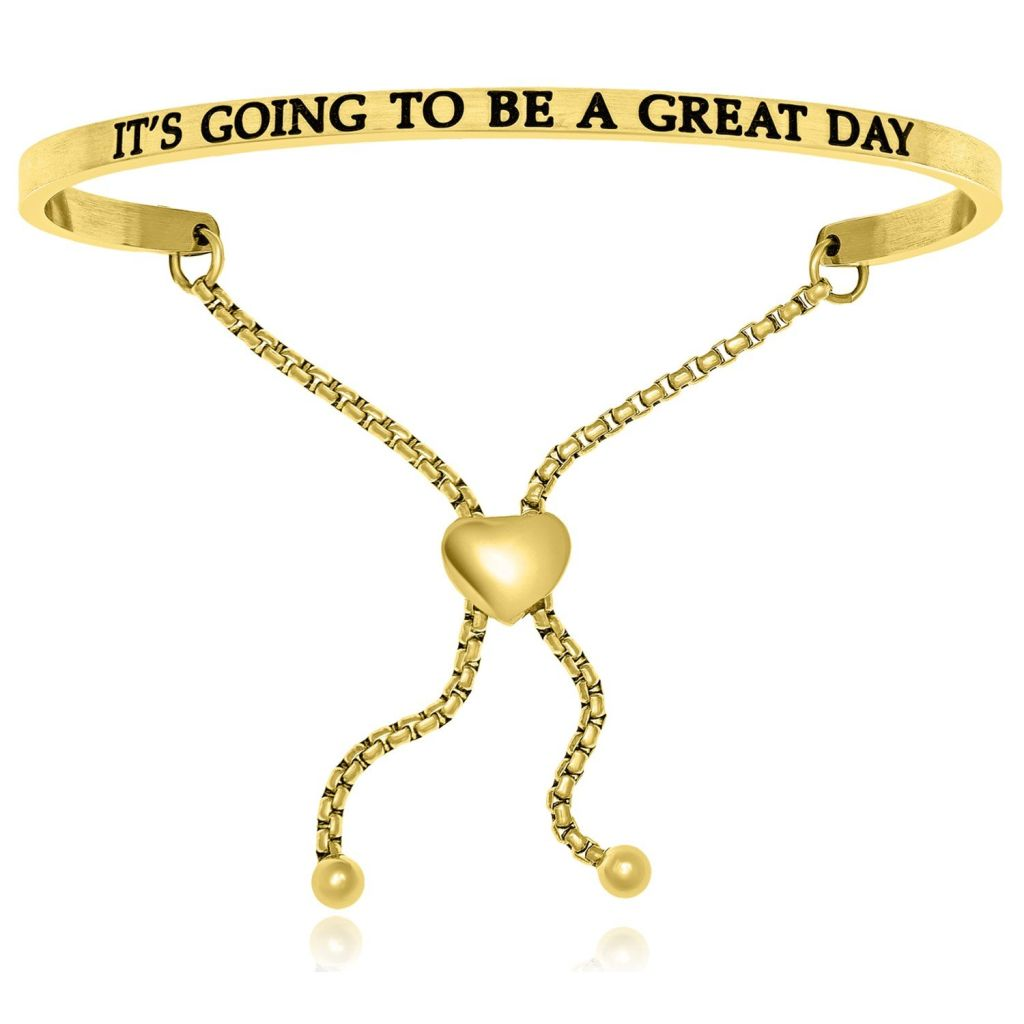 Yellow Stainless Steel Its Going To Be A Great Day Adjustable Bracelet Stainless Steel Bangles