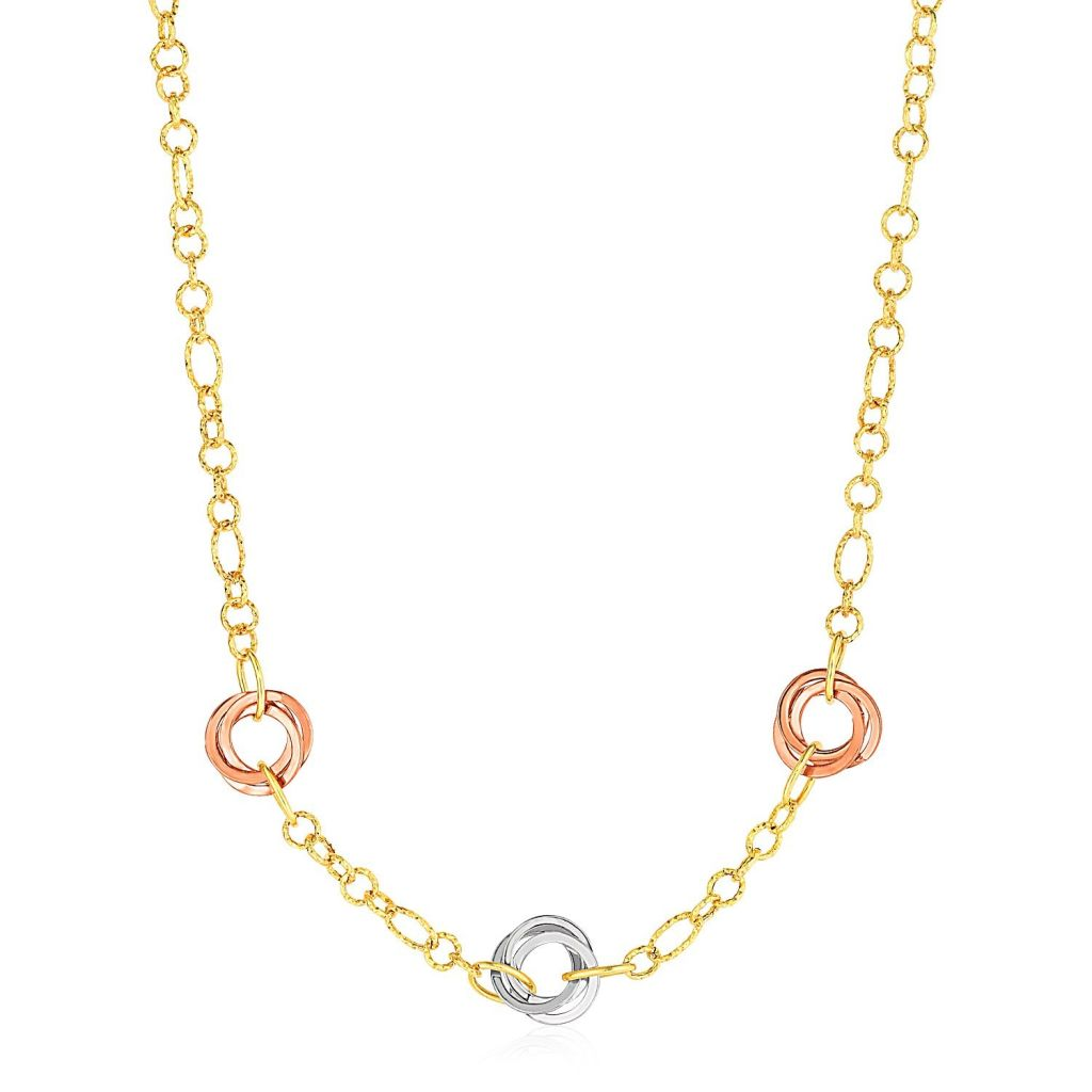 Necklace With Interlocking Rings In 14K Tri Color Gold Select Size / Color Gold Necklaces