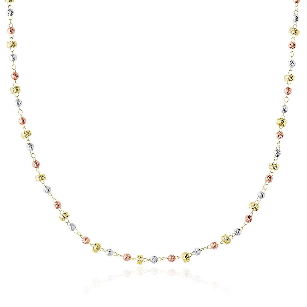 14K Tri-Color Gold Necklace With Textured Round And Barrel Bead Links Select Size / Tri Color Gold Necklaces