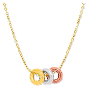 14K Tri-Color Gold Chain Necklace With Three Open Circle Accents Select Size / Tri Color Gold Necklaces