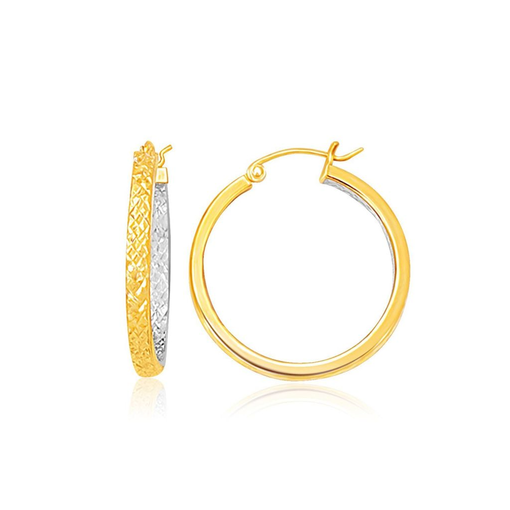 Two-Tone Yellow And White Gold Petite Patterned Hoop Earrings Yellow Gold