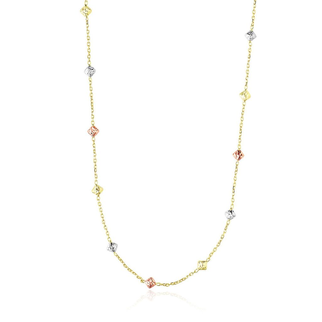 14K Tri-Color Gold Necklace With Faceted Diamond Shape Stations Select Size / Tri Color Gold Necklaces